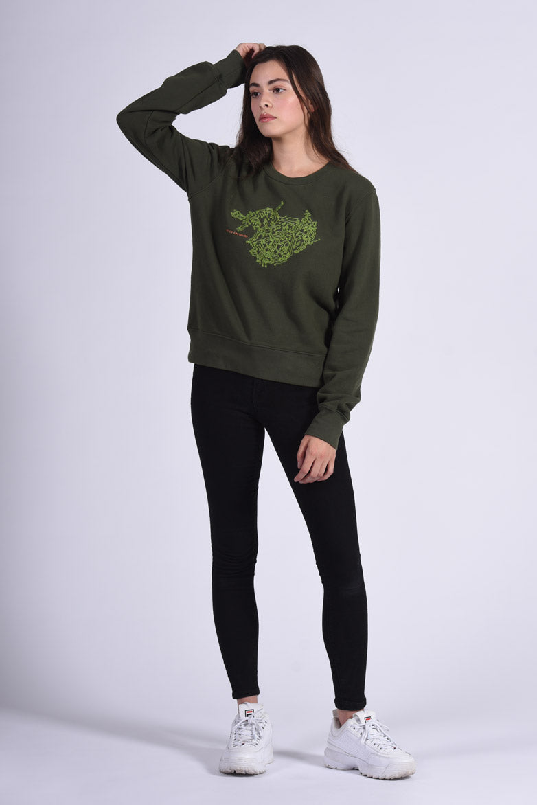 Circuit Board Embroidery Green Cotton Women's Sweatshirt Tech