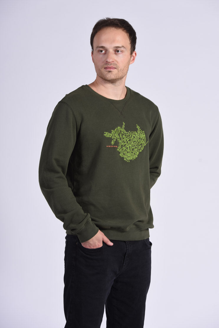 Circuit Board Embroidery Green Cotton Men's Sweatshirt Tech