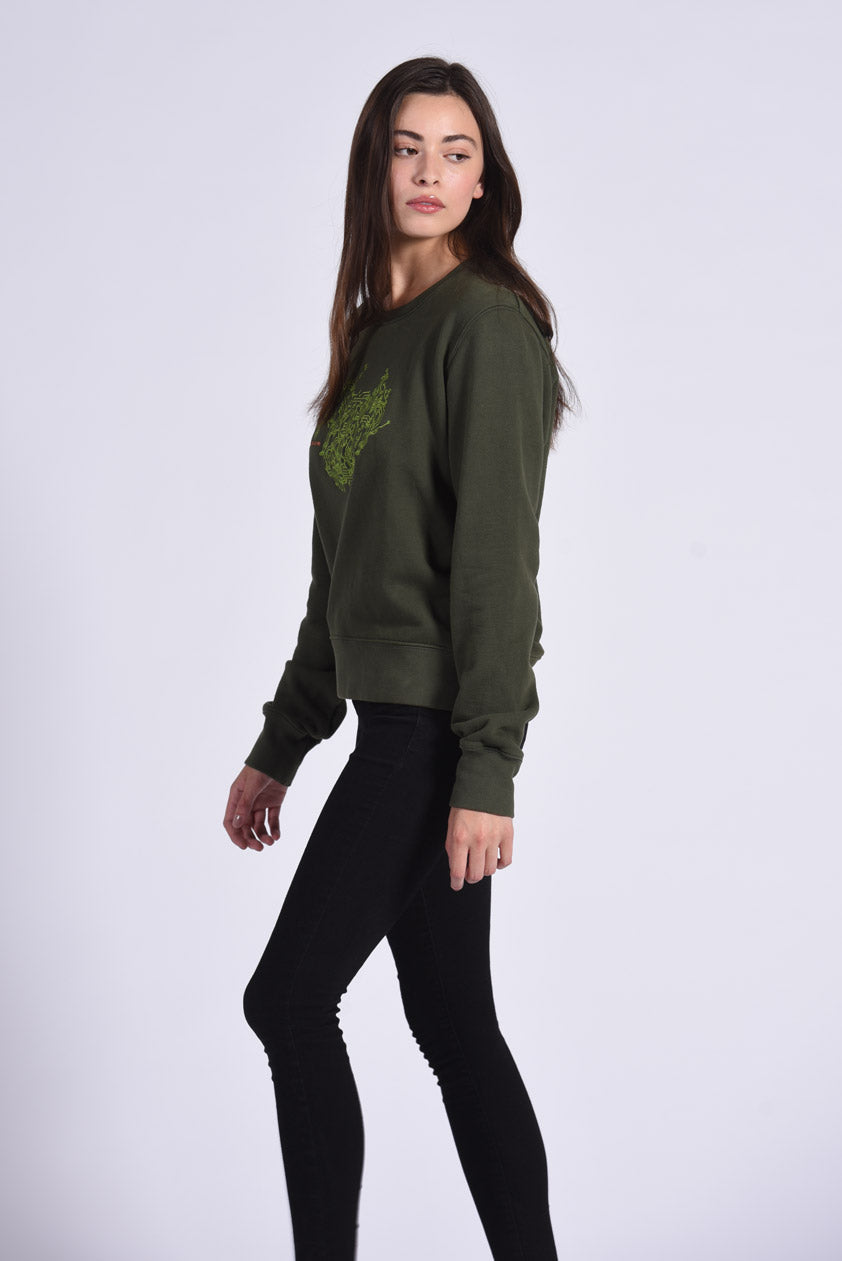 Circuit Board Embroidery Green Cotton Women's Sweatshirt Technology