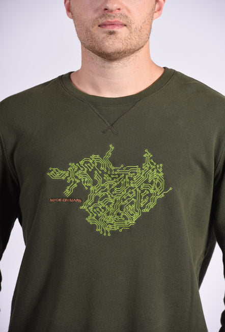 Circuit Board Embroidery Green Cotton Men's Sweatshirt Technology