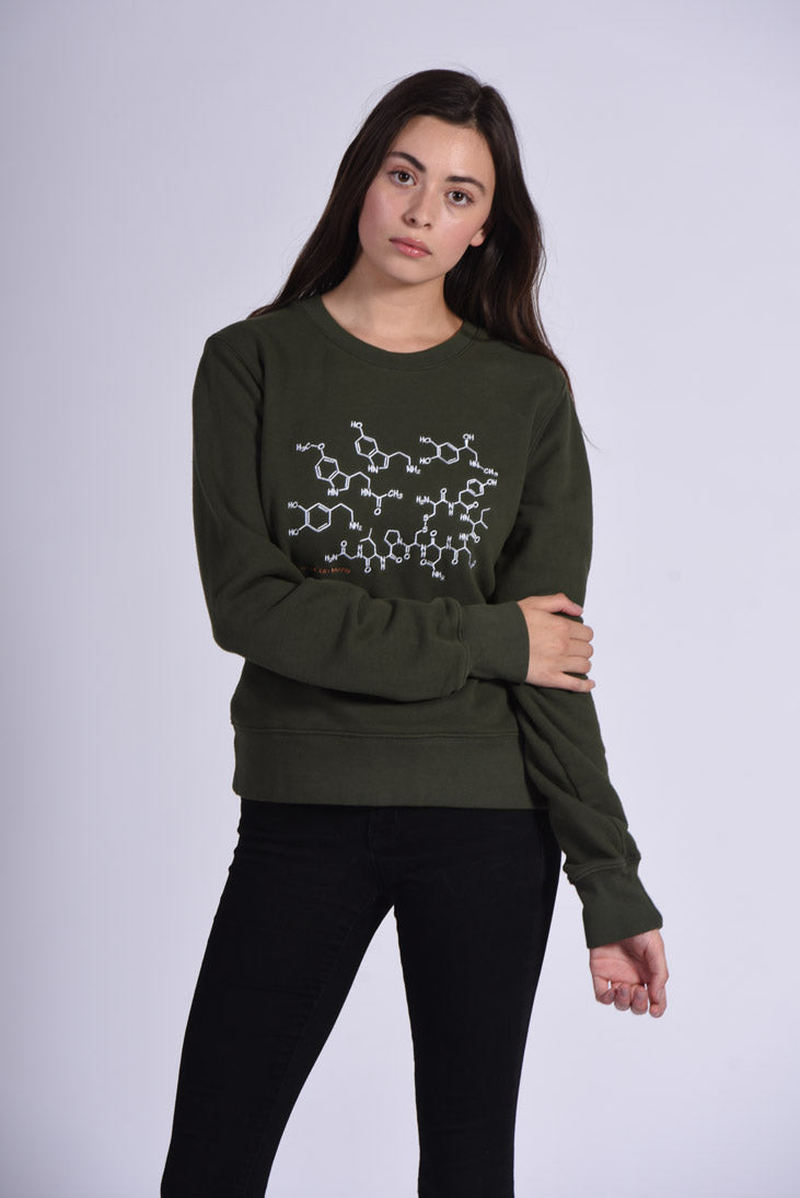 White Endocrine Embroidery Green Cotton Women's Sweatshirt Chemistry