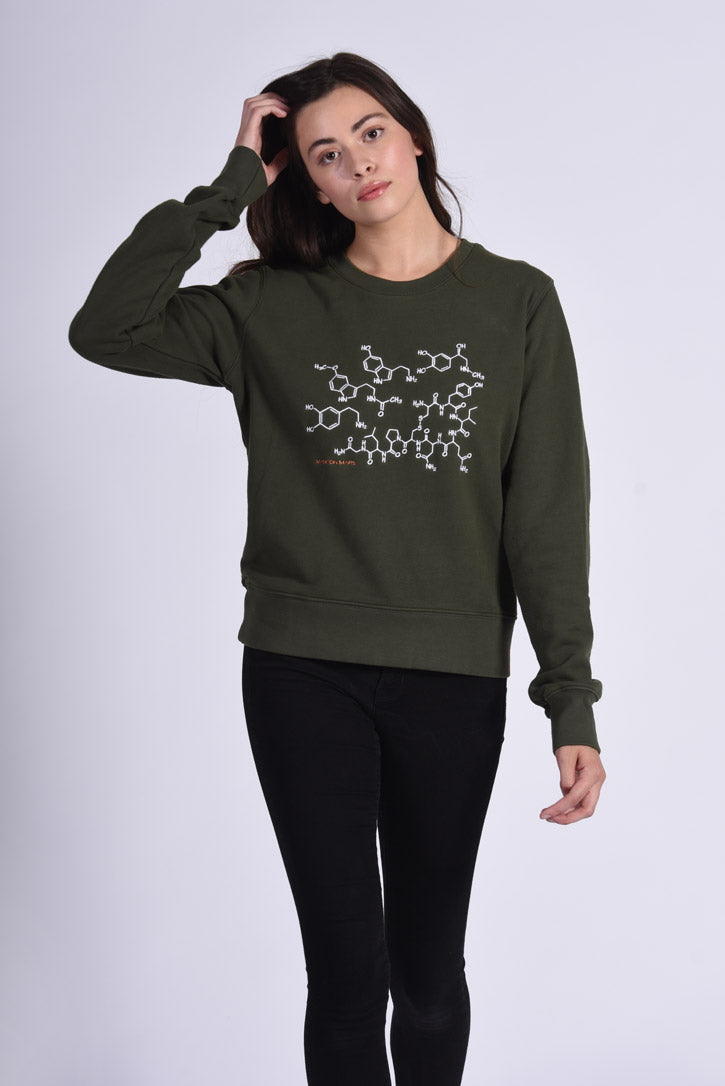 White Endocrine Embroidery Green Cotton Women's Sweatshirt Medicine