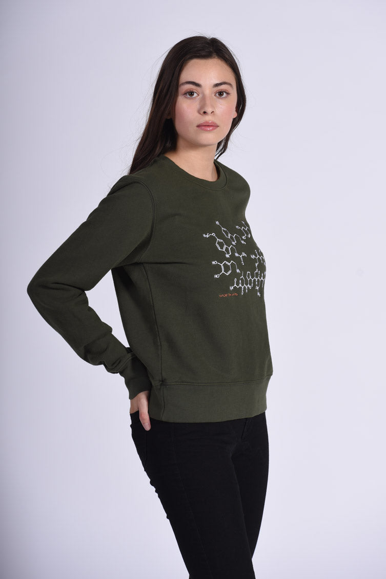 White Endocrine Embroidery Green Cotton Women's Sweatshirt STEM