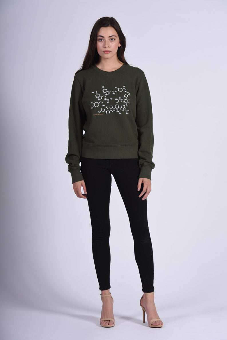 White Endocrine Embroidery Green Cotton Women's Sweatshirt Science