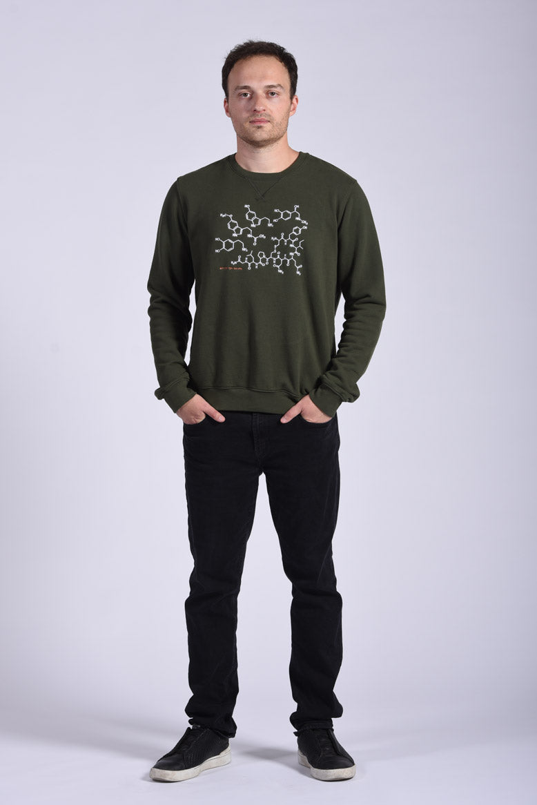 White Endocrine Embroidery Green Cotton Men's Sweatshirt Science