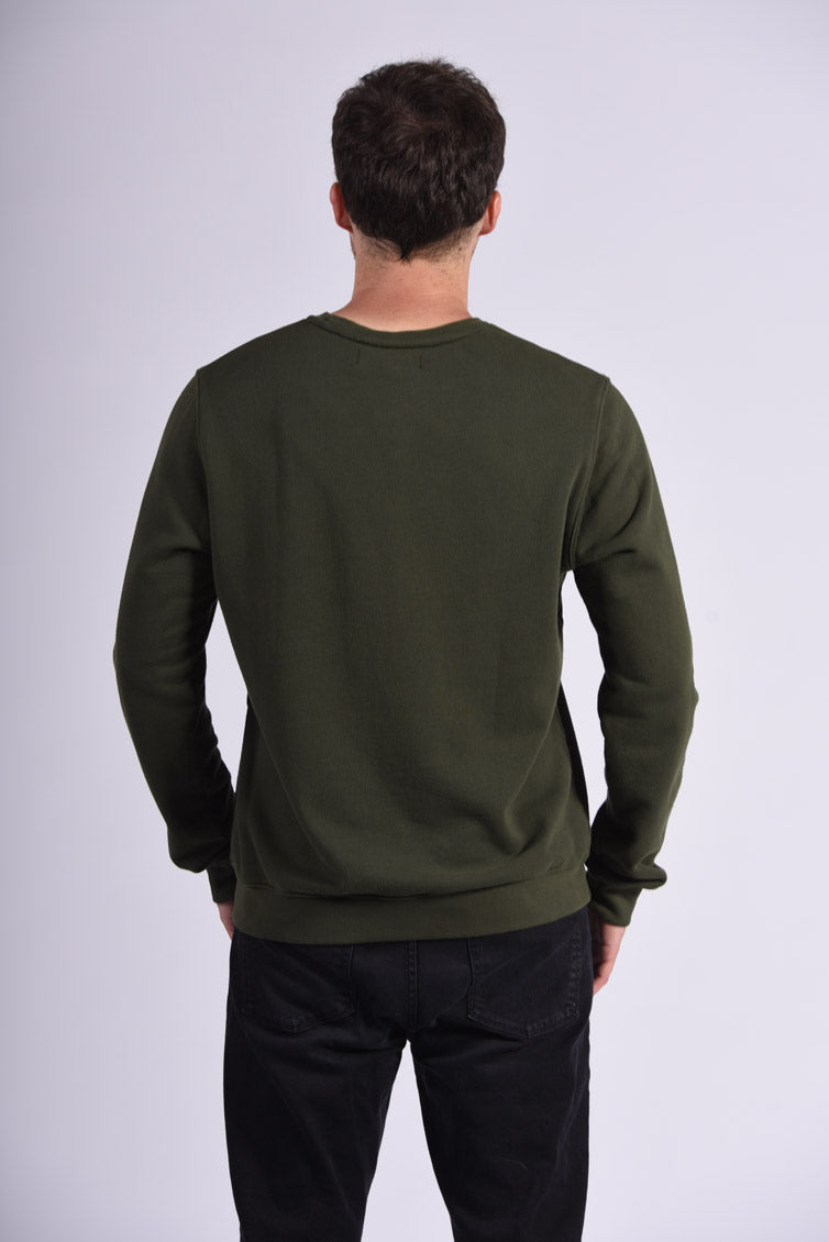 White Endocrine Embroidery Green Cotton Men's Sweatshirt Sustainable