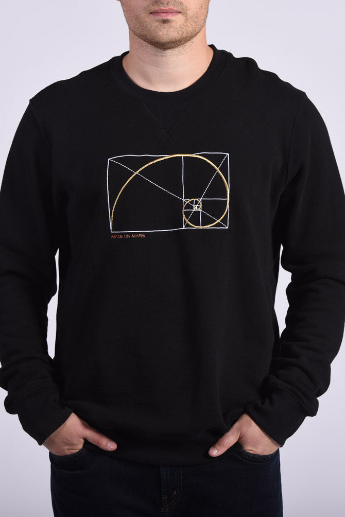Golden Ratio Embroidery Black Cotton Men's Sweatshirt Creativity