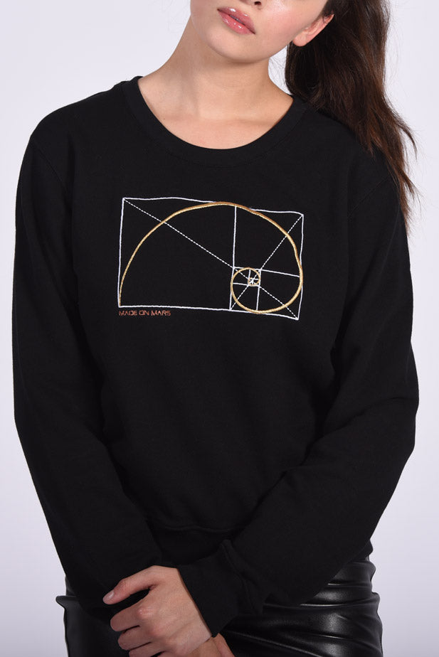 Golden Ratio Embroidery Black Cotton Women's Sweatshirt Design