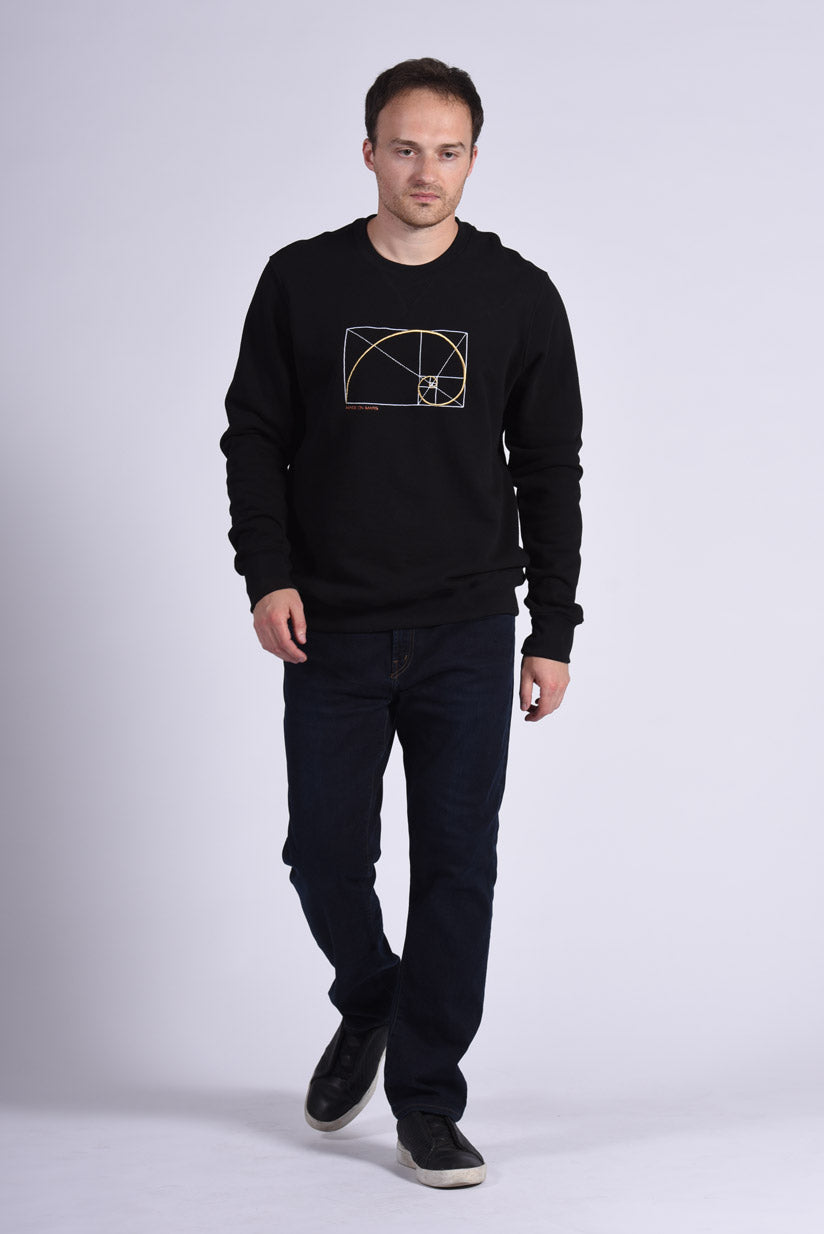 Golden Ratio Embroidery Black Cotton Men's Sweatshirt Design