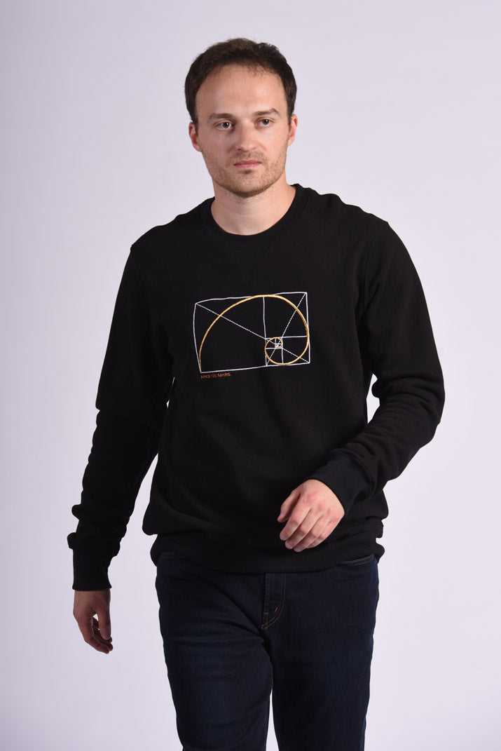 Golden Ratio Embroidery Black Cotton Men's Sweatshirt Math