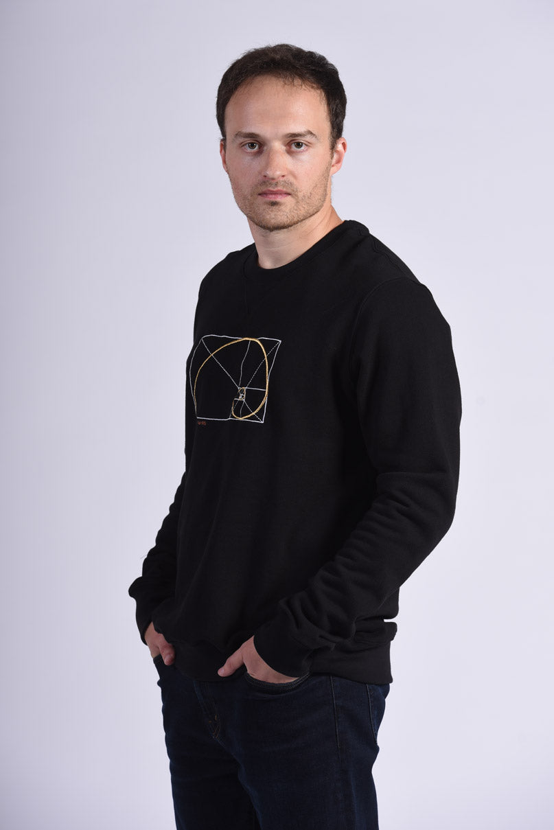 Golden Ratio Embroidery Black Cotton Men's Sweatshirt Sustainable