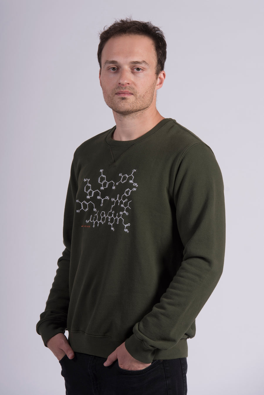 White Endocrine Embroidery Green Cotton Men's Sweatshirt Ethical