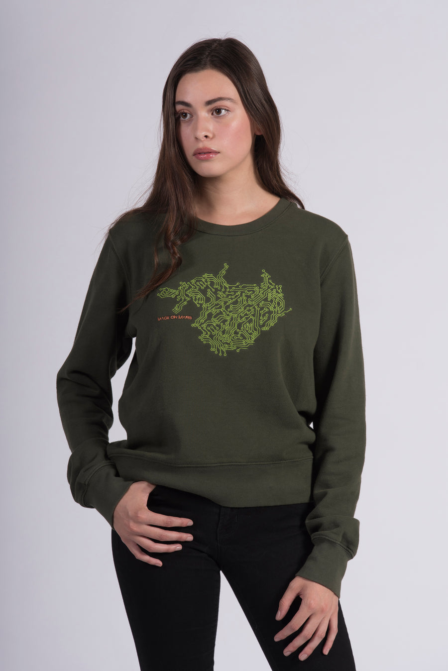 Circuit Board Embroidery Green Cotton Women's Sweatshirt Ethical