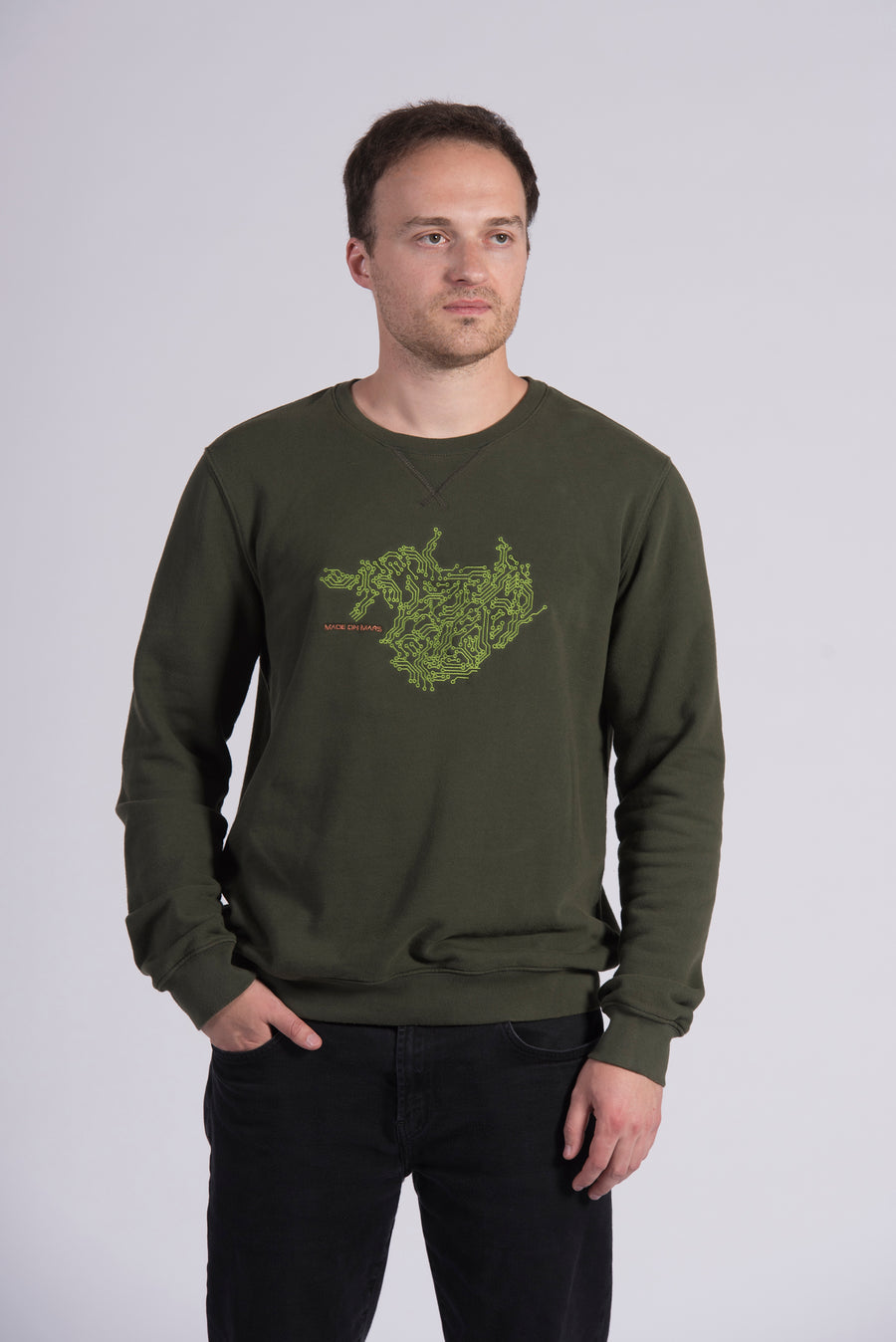 Circuit Board Embroidery Green Cotton Men's Sweatshirt Ethical