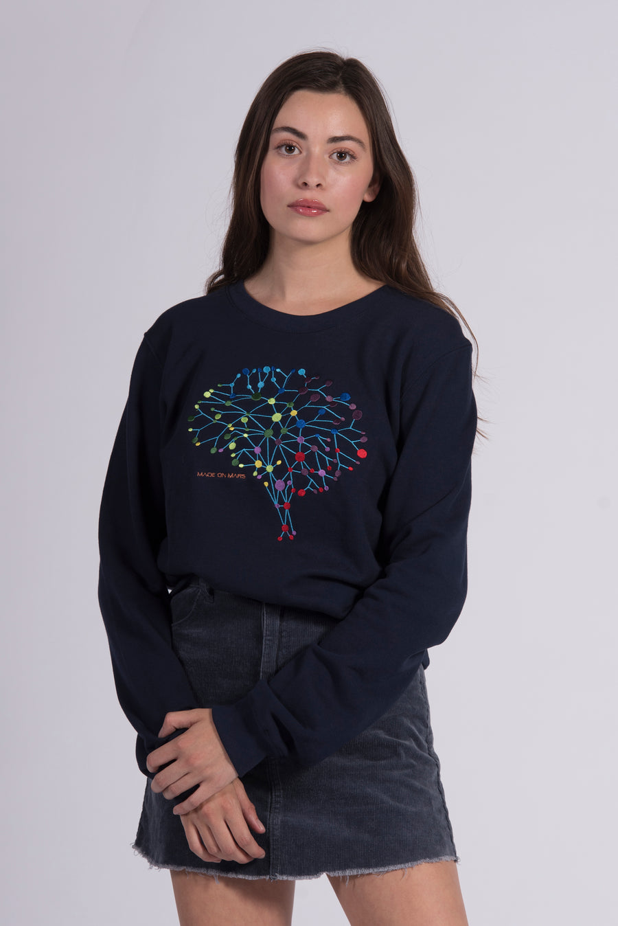 Colorful Neuro Embroidery Blue Cotton Women's Sweatshirt Sustainable