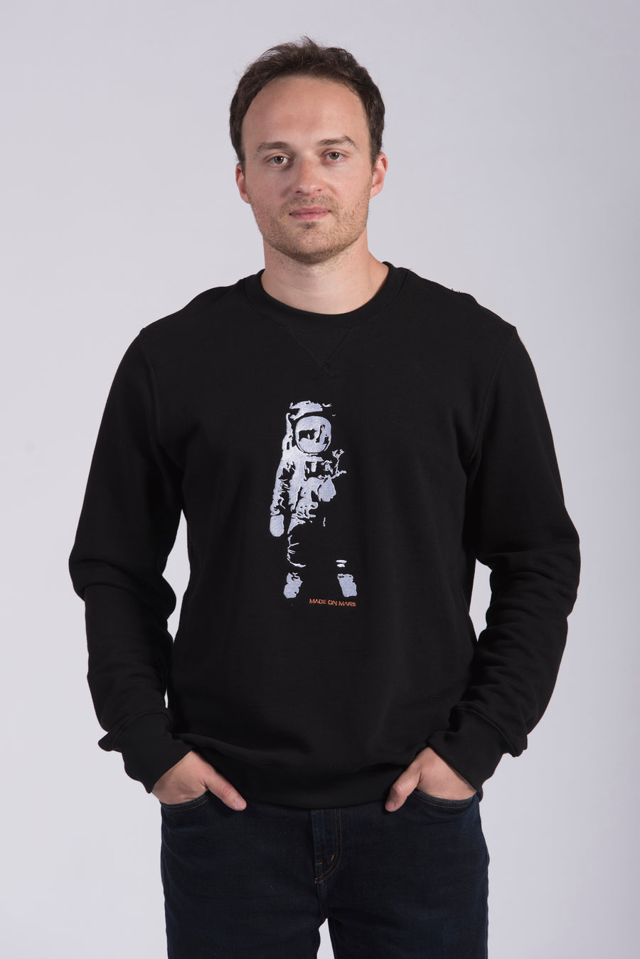 White Apollo 11 Embroidery Black Cotton Men's Sweatshirt STEM