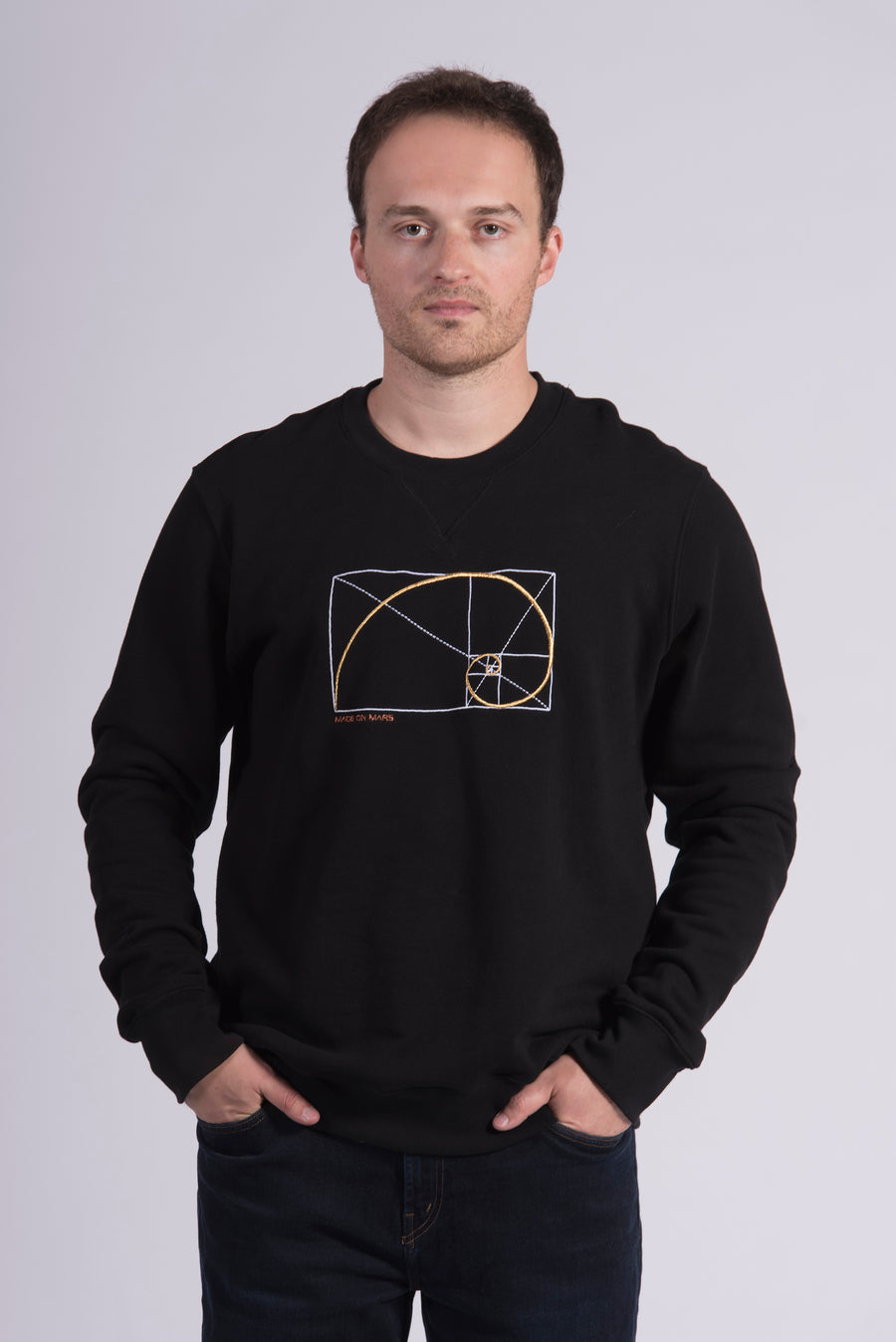 Golden Ratio Embroidery Black Cotton Men's Sweatshirt Art
