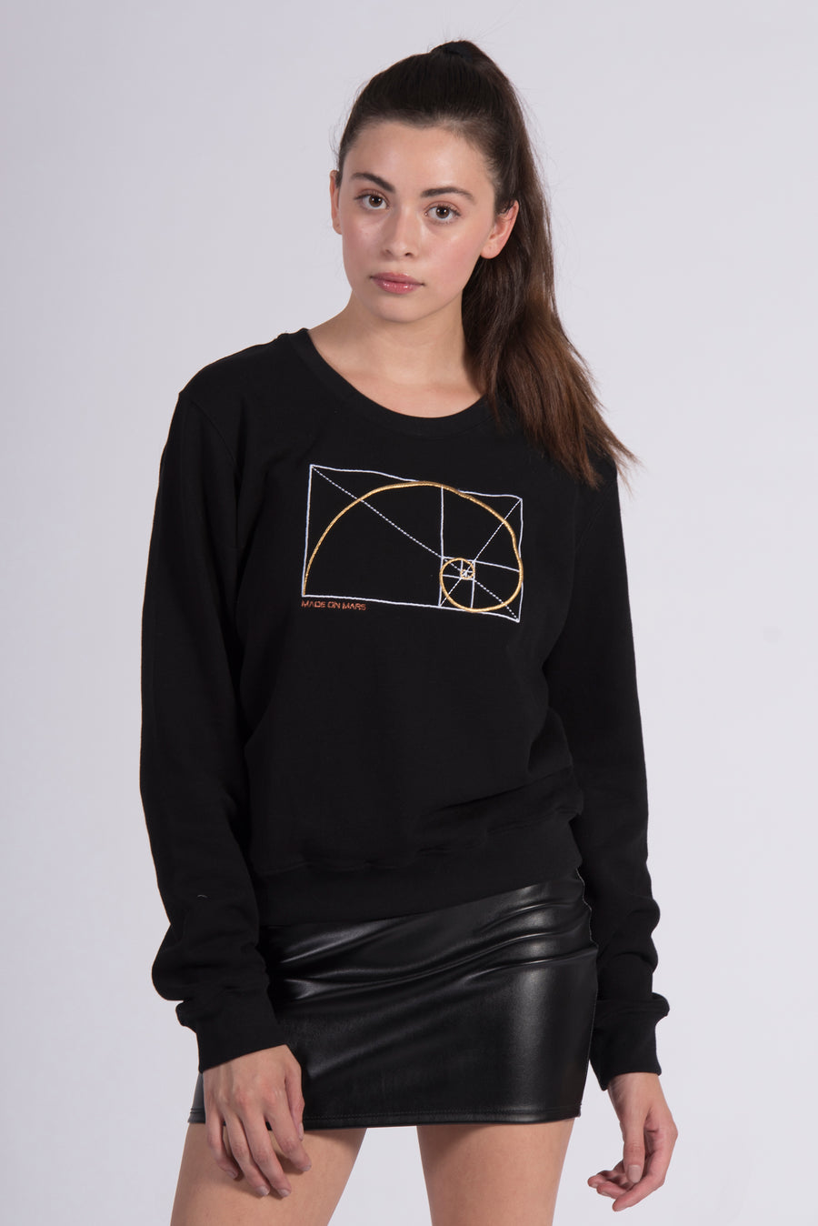 Golden Ratio Embroidery Black Cotton Women's Sweatshirt Art