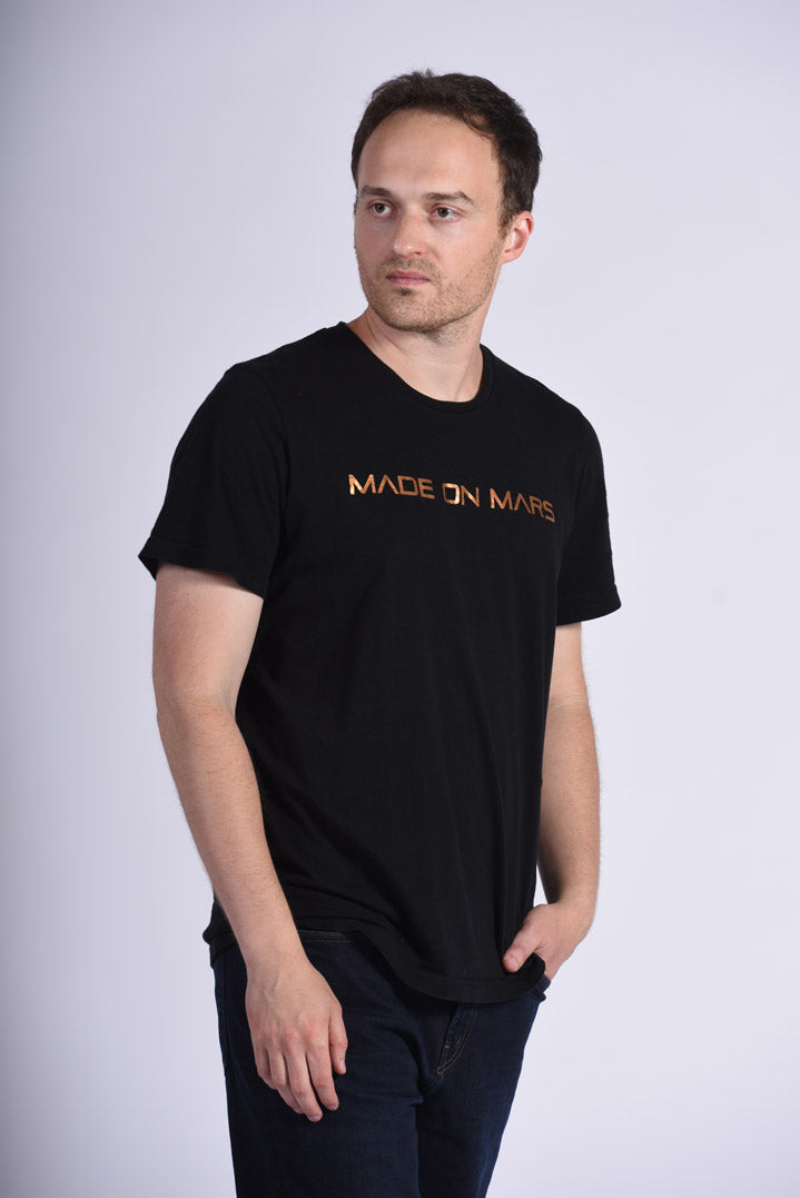 Copper Foil Made On Mars Text Men's Black T-Shirt NASA
