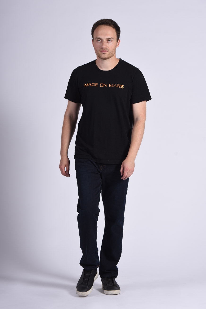 Copper Foil Made On Mars Text Men's Black T-Shirt SpaceX