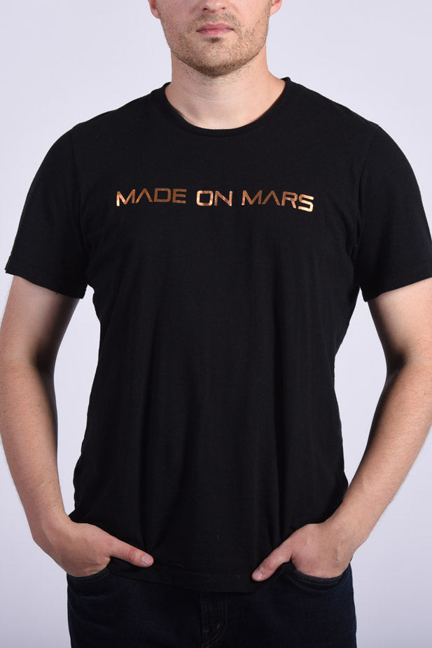 Copper Foil Made On Mars Text Men's Black T-Shirt Space