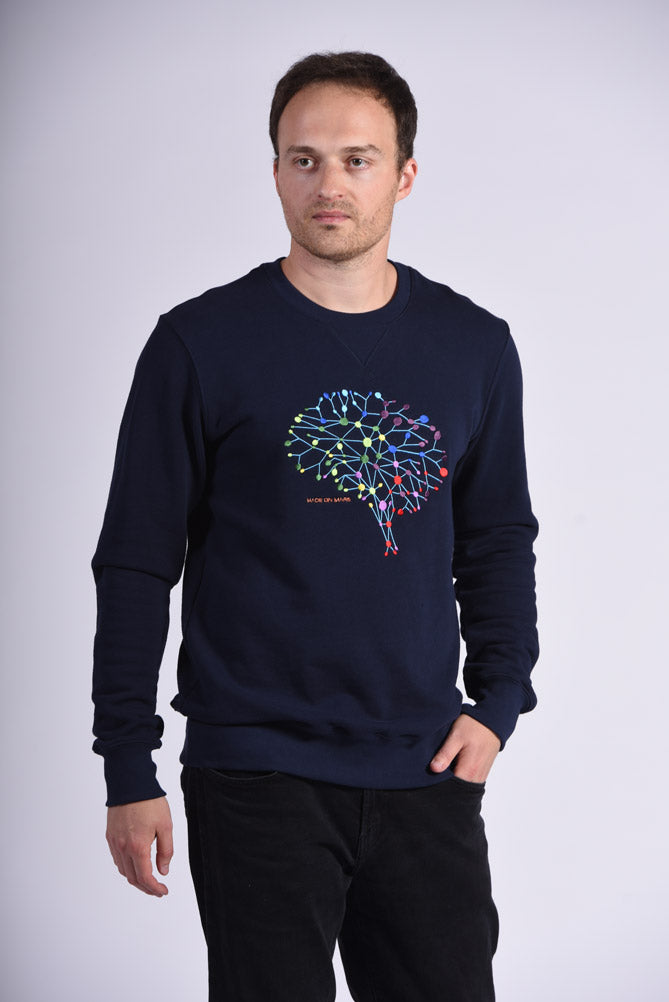 Colorful Neuro Embroidery Blue Cotton Men's Sweatshirt Brain
