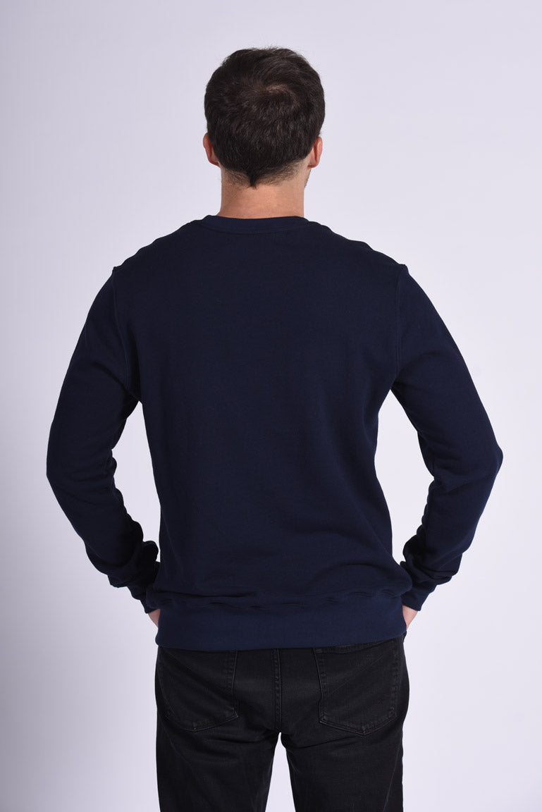 Colorful Neuro Embroidery Blue Cotton Men's Sweatshirt Ethical