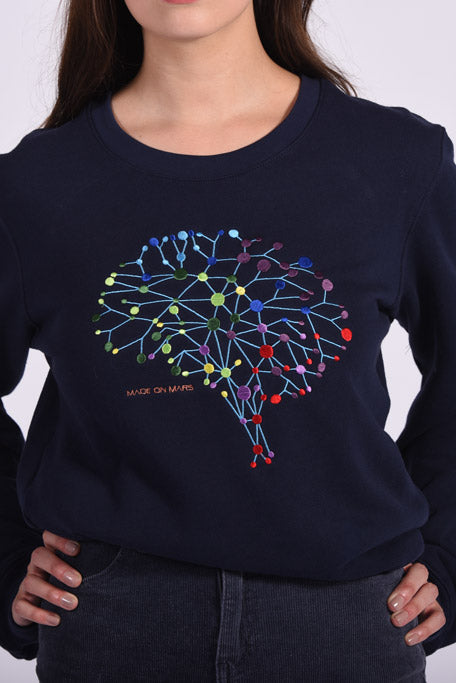 Colorful Neuro Embroidery Blue Cotton Women's Sweatshirt Mental Health