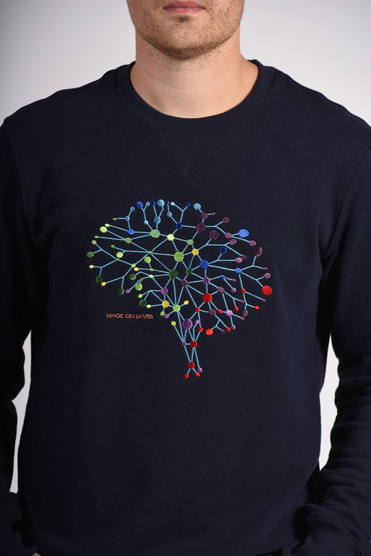 Colorful Neuro Embroidery Blue Cotton Men's Sweatshirt Mental Health