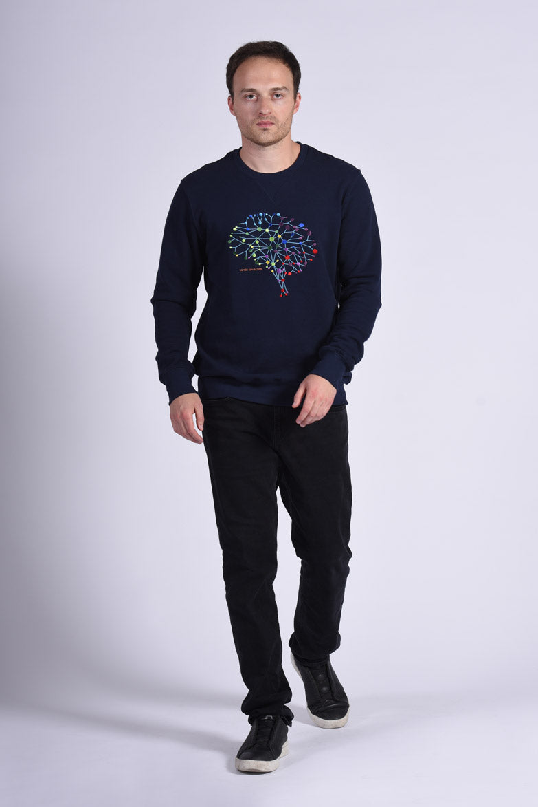 Colorful Neuro Embroidery Blue Cotton Men's Sweatshirt Neuroscience