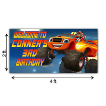 Load image into Gallery viewer, Personalized Blaze And Monster Trucks Birthday Banner Weatherproofing