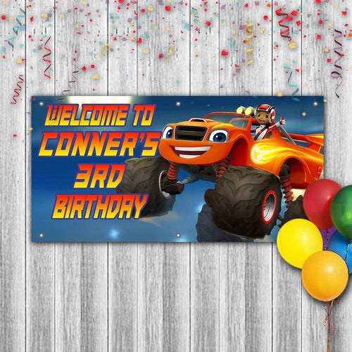 Personalized Blaze And Monster Trucks Birthday Banner Weatherproofing