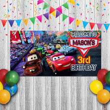 Load image into Gallery viewer, Personalized Cars Birthday Banner Weatherproofing