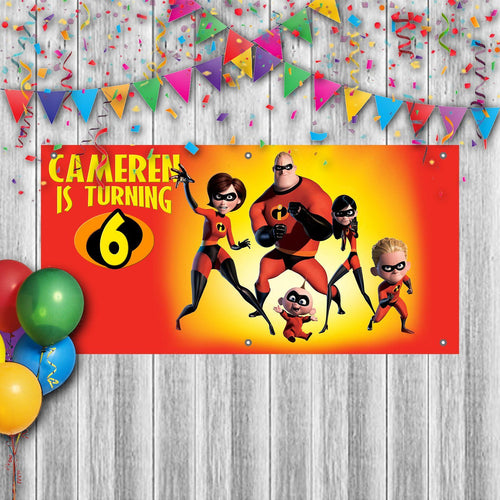 Personalized Incredibles Birthday Banner Weatherproofing