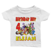 Load image into Gallery viewer, Personalize Mickey Mouse Racer Birthday Shirt