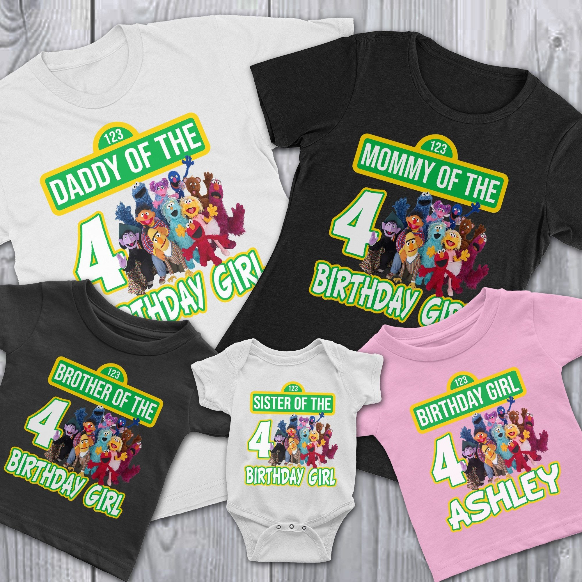 450f5bcd Load image into Gallery viewer, Personalize Sesame Street Birthday T-Shirt  ...