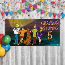 Load image into Gallery viewer, Personalized Scooby Doo Birthday Banner Weatherproofing