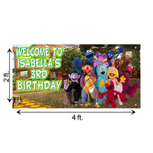 Load image into Gallery viewer, Personalized Birthday Sesame Street Banner Weatherproofing