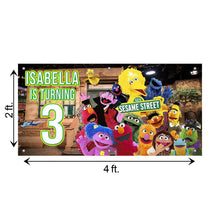 Load image into Gallery viewer, Custom Birthday Sesame Street Banner Weatherproofing
