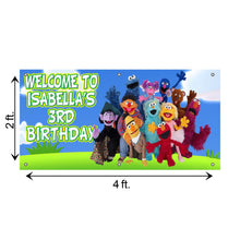 Load image into Gallery viewer, Personalized Sesame Street Birthday Banner Weatherproofing