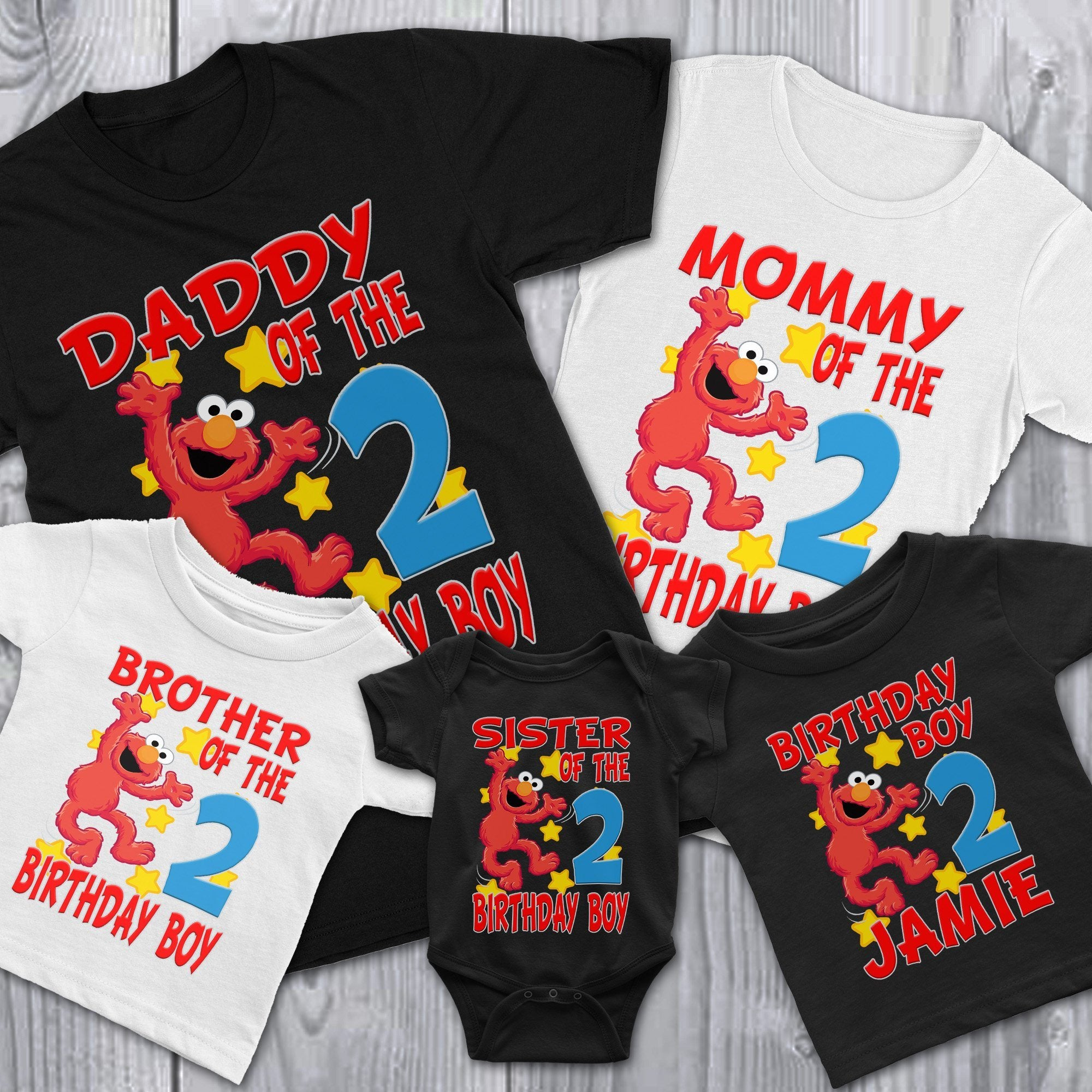 Load Image Into Gallery Viewer Personalize Sesame Street Elmo Birthday Shirt