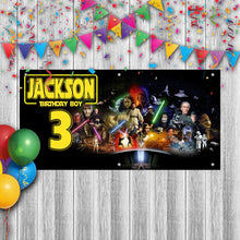 Load image into Gallery viewer, Personalized Star Wars Birthday Banner Weatherproofing