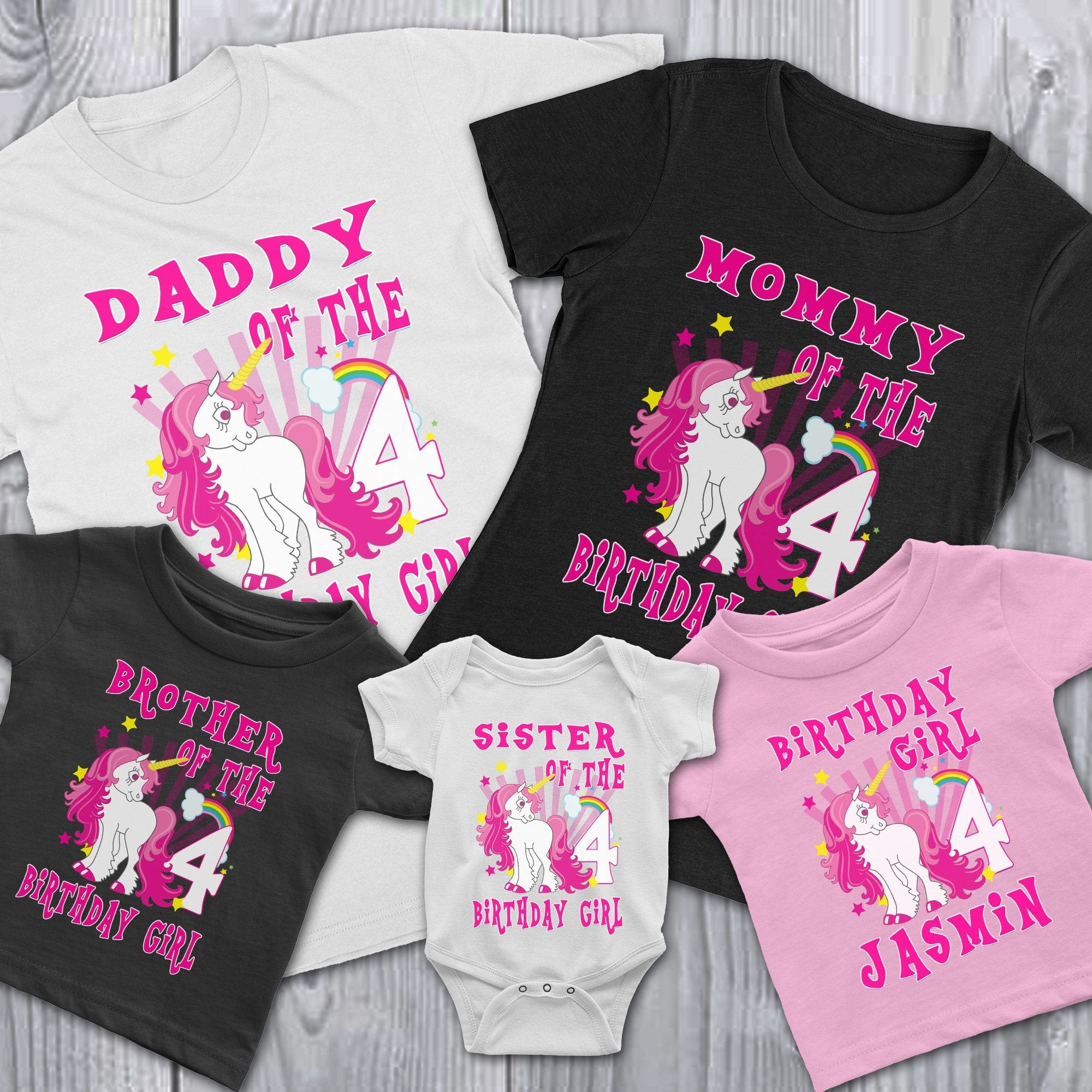 748361410 Load image into Gallery viewer, Personalize Unicorn Birthday Shirt ...