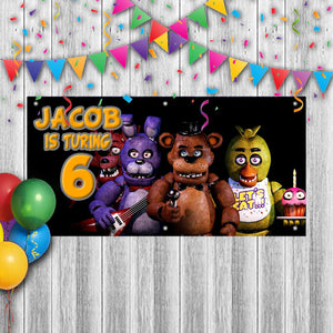 Personalized FNOF Five Nights of Freddy Birthday Banner Weatherproofing