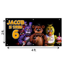 Load image into Gallery viewer, Personalized FNOF Five Nights of Freddy Birthday Banner Weatherproofing