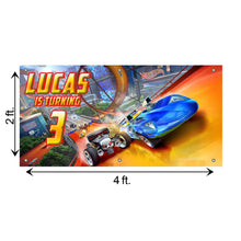 Load image into Gallery viewer, Personalized Hot Wheels Birthday Banner Weatherproofing