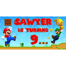Load image into Gallery viewer, Custom Super Mario Birthday Banner Weatherproofing