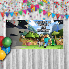 Load image into Gallery viewer, Personalized Minecraft Birthday Banner Weatherproofing