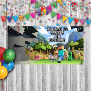 Personalized Minecraft Birthday Banner Weatherproofing