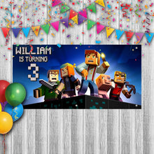 Load image into Gallery viewer, Custom Minecraft Birthday Banner Weatherproofing